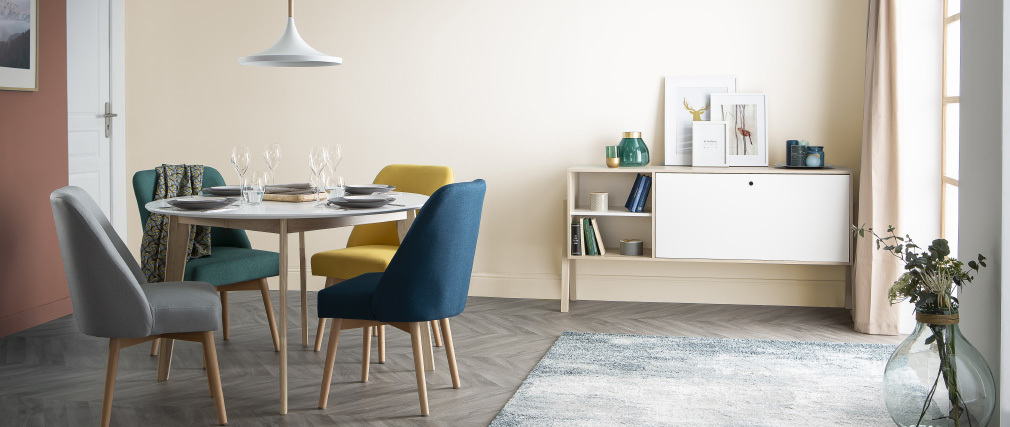 Mesa de comedor diseño redonda extensible blanca y madera L120-150 LEENA