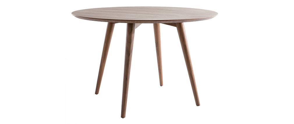 Mesa de comedor diseño redondo nogal D120 LIVIA