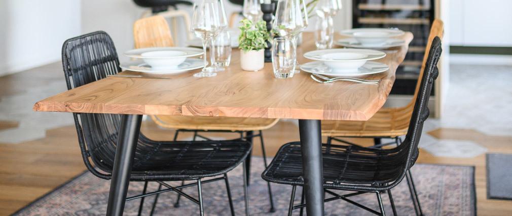 Mesa de comedor en acacia y metal L175 EDGE