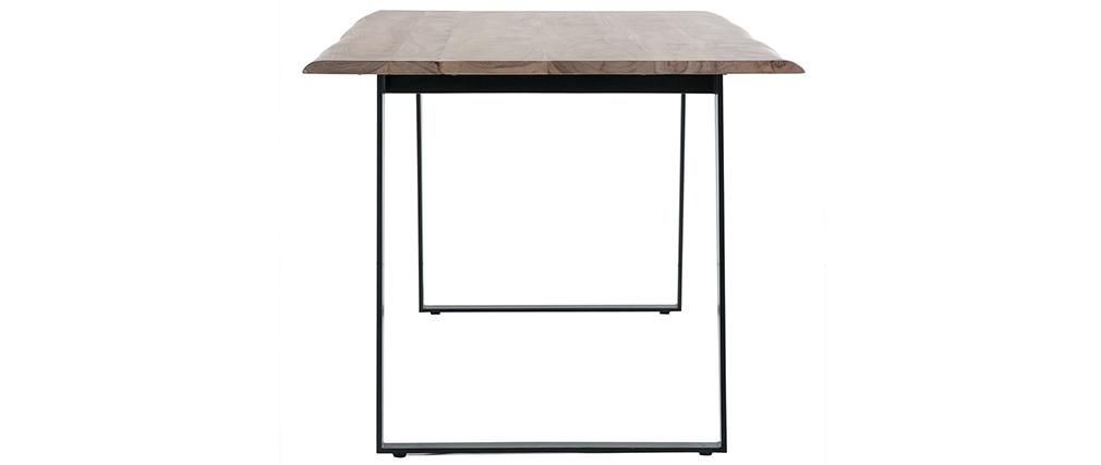 Mesa de comedor en acacia y metal negro L175 KORA