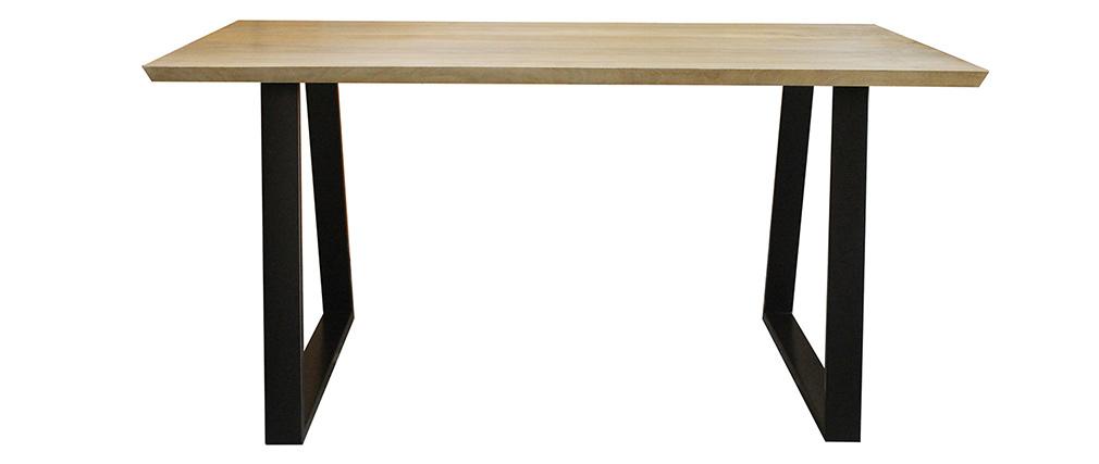 Mesa de comedor en mango y metal negro L160 cm VIJAY