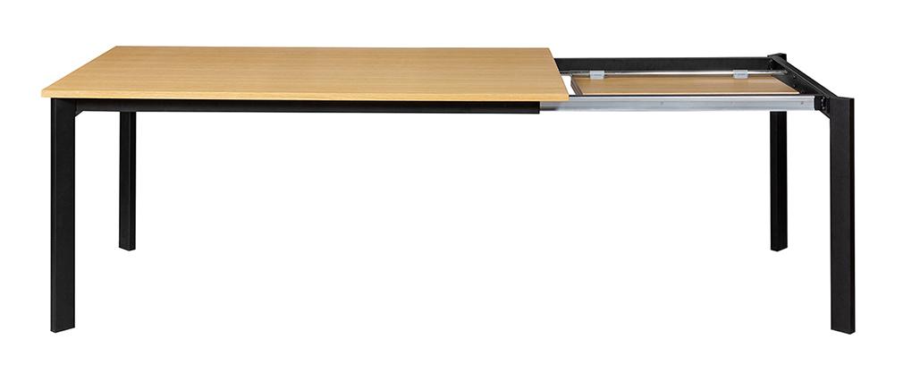 Mesa de comedor extensible chapado roble y metal L162-232 cm MEEVLA