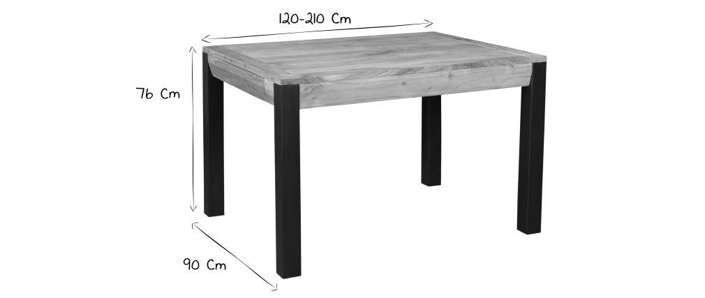 Mesa de comedor extensible en acacia maciza y metal negro L120-210 cm TRAP