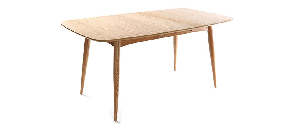 Mesa de comedor extensible en fresno natural L130-160 NORDECO