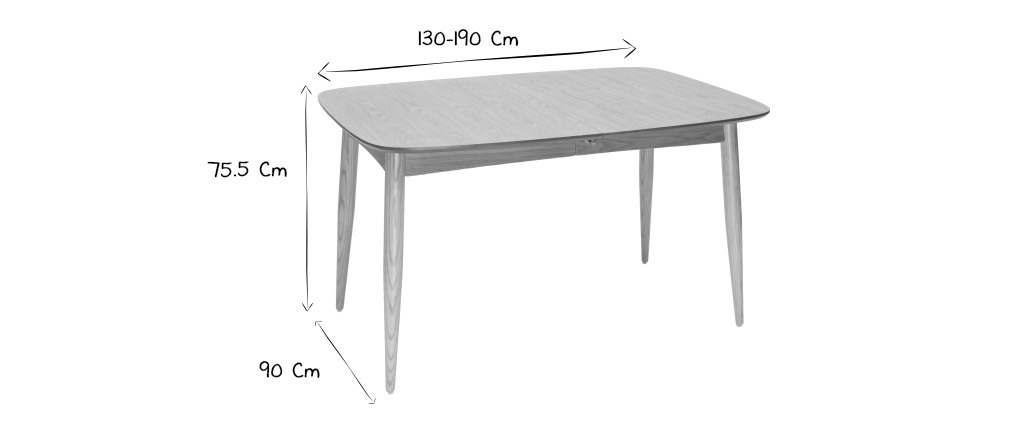 Mesa de comedor extensible fresno L130-190 NORDECO