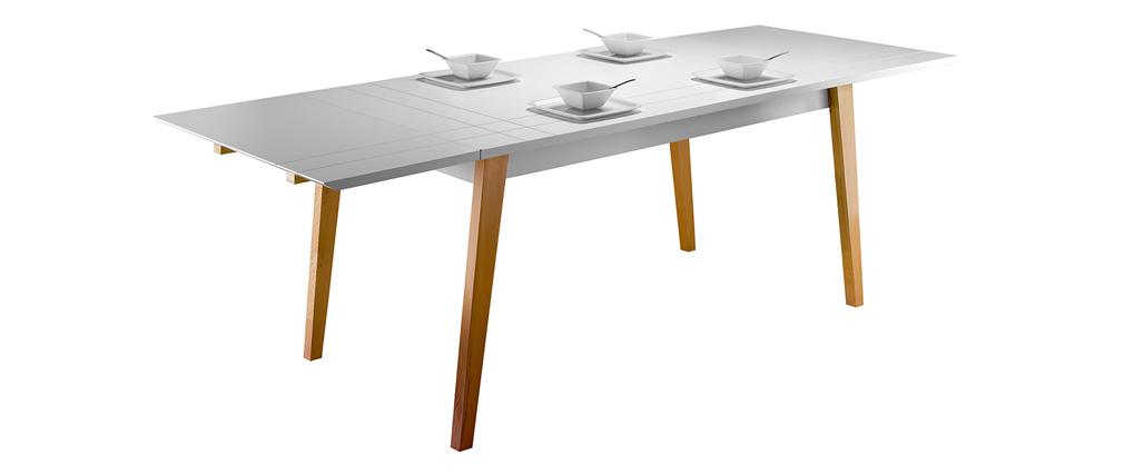 Mesa de comedor extensible lacado mate y madera ADORNA