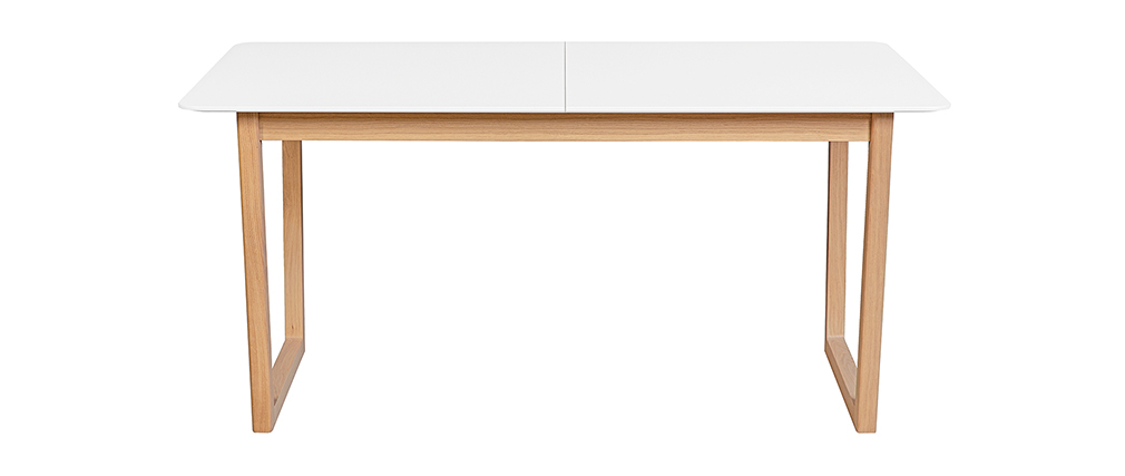 Mesa de comedor extensible madera clara y blanco L160-240 cm LAHO