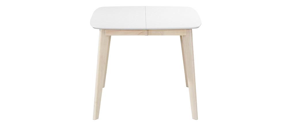 Mesa de comedor extensible nórdica blanca y madera L90-130 LEENA