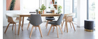 Mesa de comedor extensible nórdica en madera clara L150-200 LEENA
