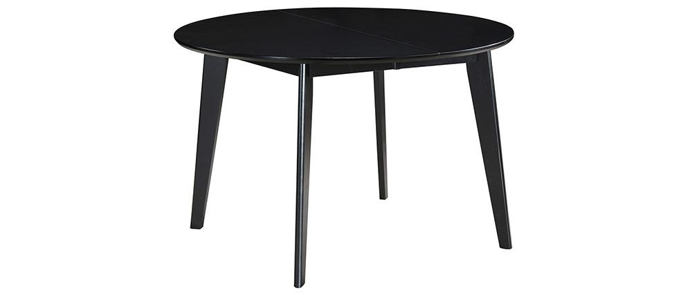 Mesa de comedor extensible redonda negra L120-150 cm LEENA