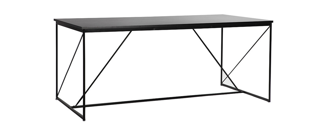 Mesa de comedor fija diseño gris y negro WALT