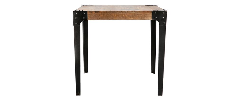 Mesa de comedor industrial acero y madera 80x80cm MADISON