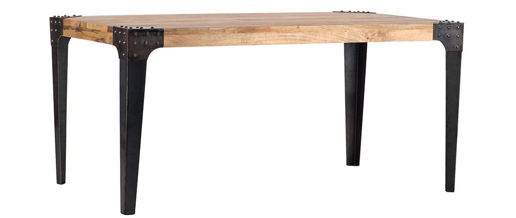 Mesa de comedor industrial acero y madera L160 MADISON