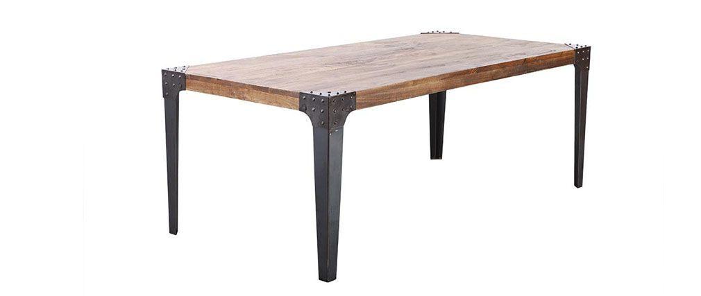 Mesa de comedor industrial acero y madera L200 MADISON