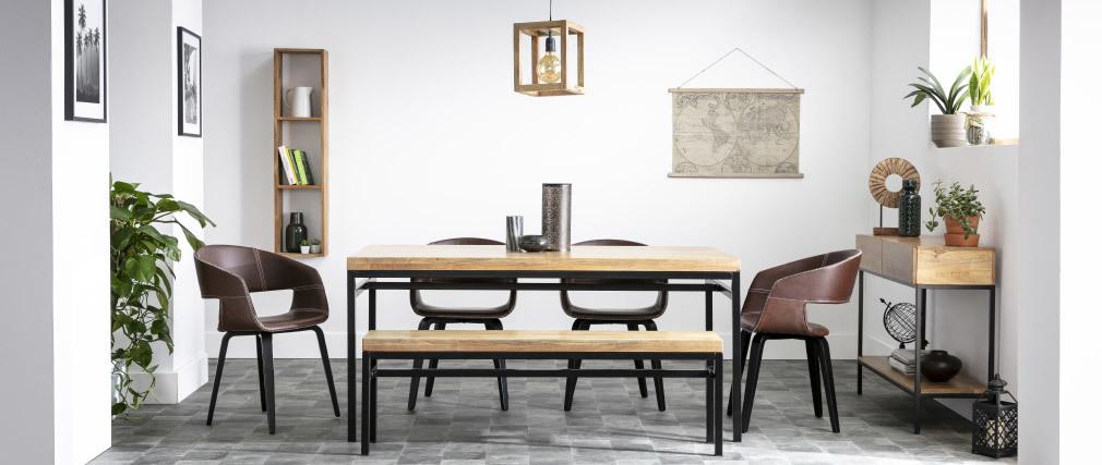 Mesa de comedor industrial mango bruto y metal L160 YPSTER