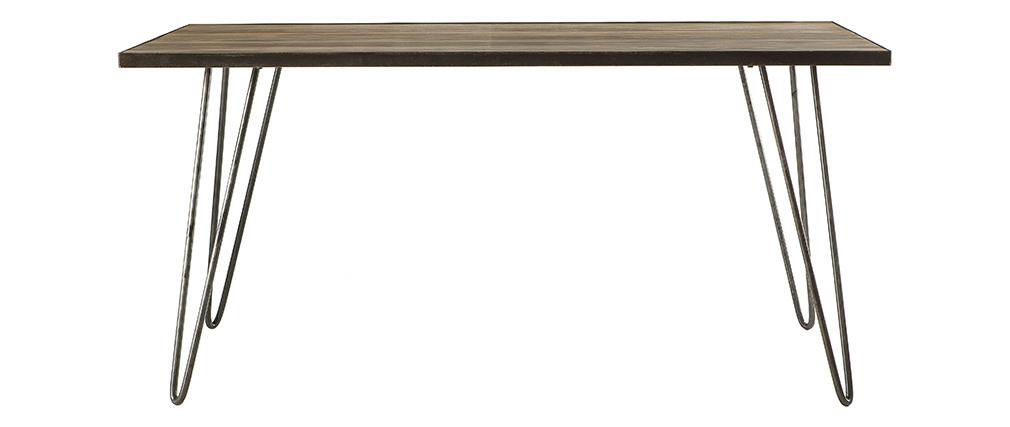 Mesa de comedor industrial rectangular madera metal ATELIER