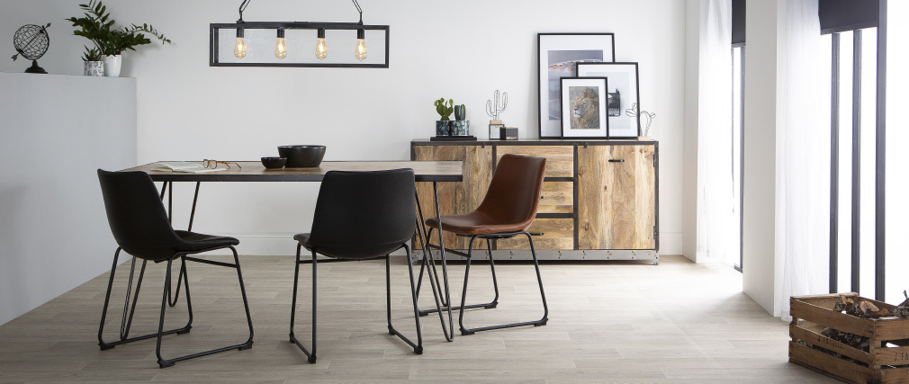 Mesa de comedor industrial rectangular madera metal L160 ATELIER