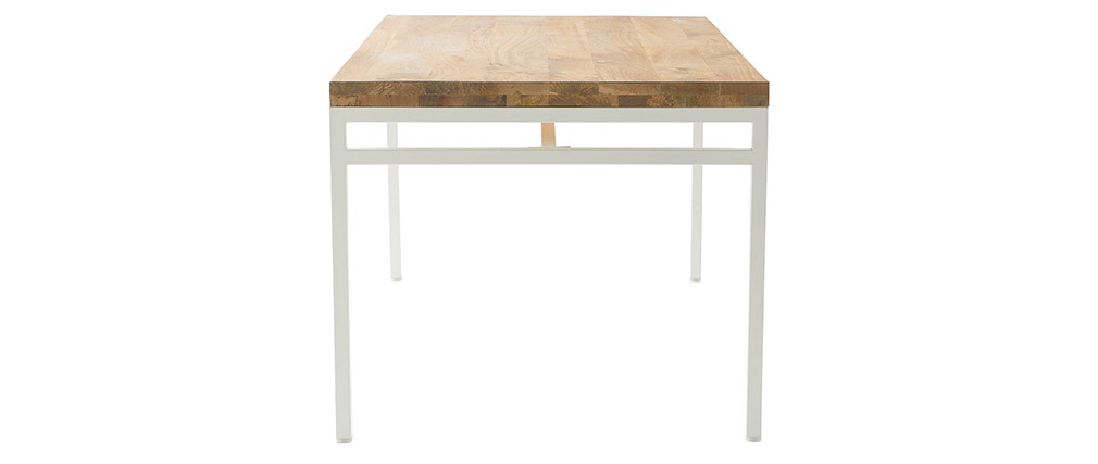 Mesa de comedor mango y metal blanco 160cm BOHO