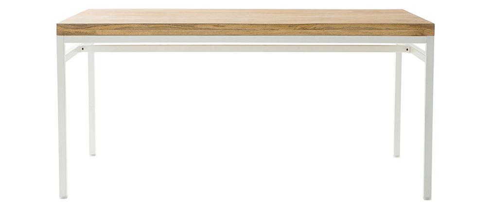 Mesa de comedor mango y metal blanco L160 BOHO