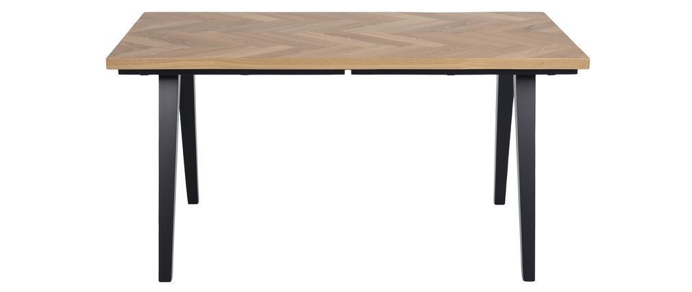 Mesa de comedor motivo espiga acabado roble y patas negras TRAVIS