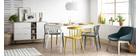 Mesa de comedor nórdica madera y blanca STRIPE