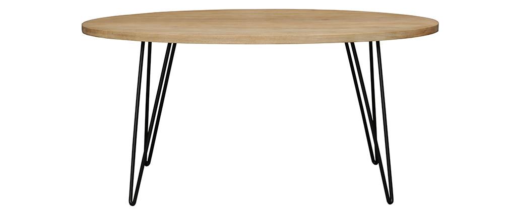 Mesa de comedor oval en mango macizo L160 x l90 cm VIBES