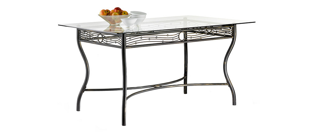 Mesa de comedor rectangular de acero y de cristal templado D153 FLORENCE
