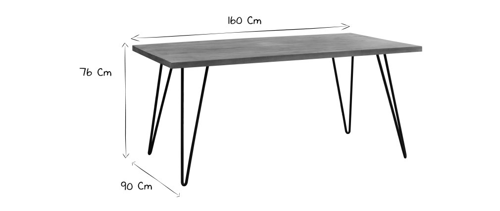 Mesa de comedor rectangular mango L160 cm VIBES