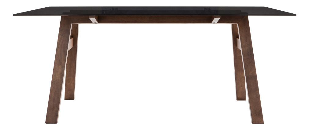Mesa de comedor rectangular tablero cristal ahumado negro 180cm BACCO