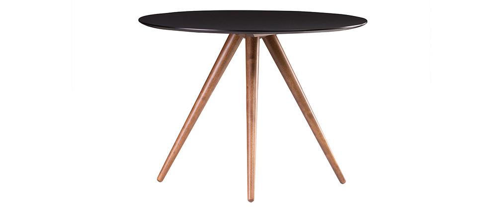 Mesa de comedor redonda diseño 106 cm nogal y negro WALFORD