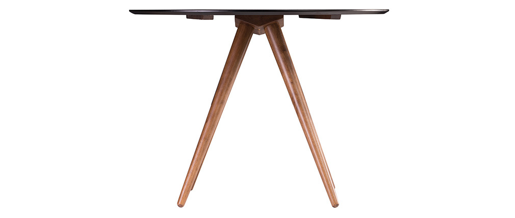 Mesa de comedor redonda diseño nogal y negro D106 WALFORD