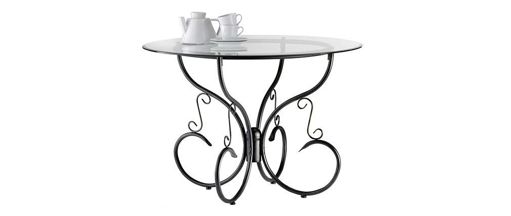 Mesa de comedor redonda FLORENCE de acero y cristal templado