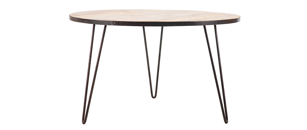 Mesa de comedor redonda industrial madera metal ATELIER