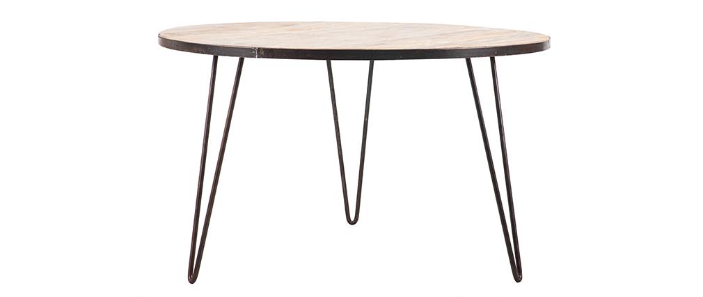 Mesa de comedor redonda industrial madera metal D125 ATELIER