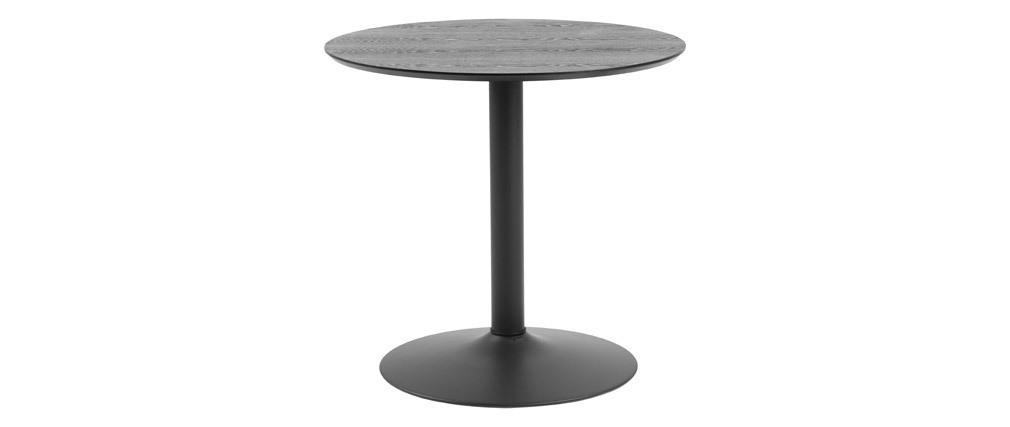 Mesa de comedor redonda madera negra y metal D80 cm KALI