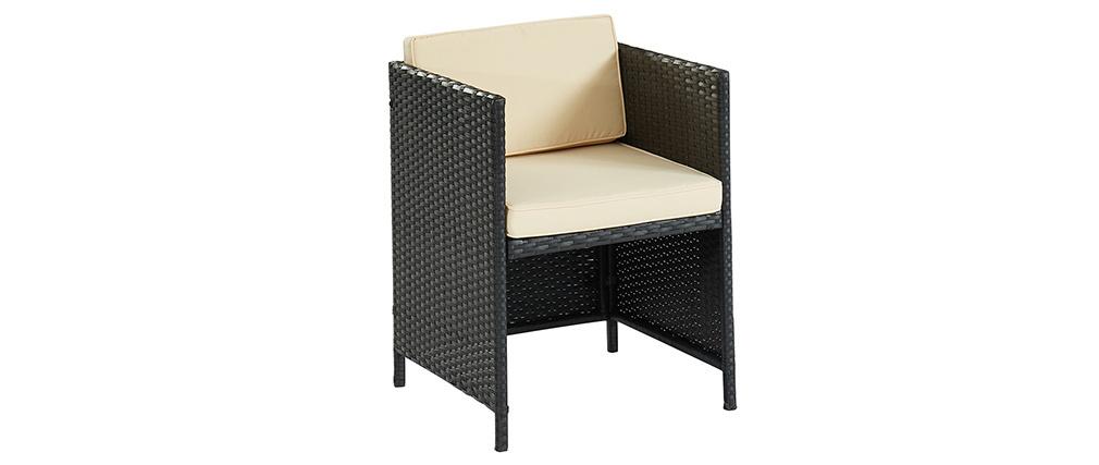Mesa de jardín en resina trenzada con dos sillones PICCOLO