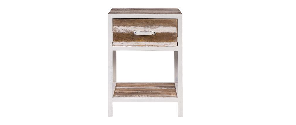 Mesa de noche madera y metal blanco ROCHELLE