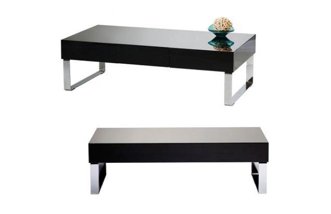 Mesa de sal n de dise o color negro lacado neo miliboo - Mesa salon diseno ...