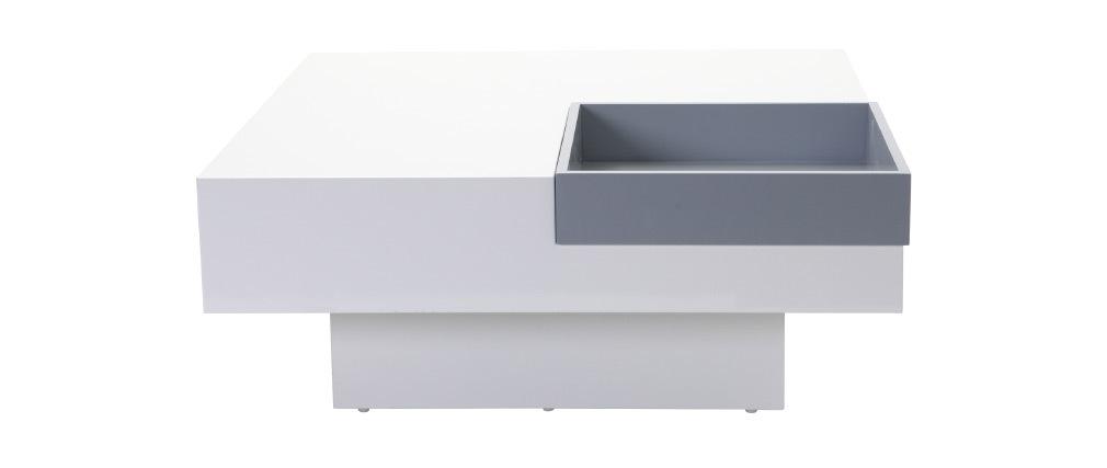 Mesa de salón de diseño lacada blanca bandeja grís amovible TEENA