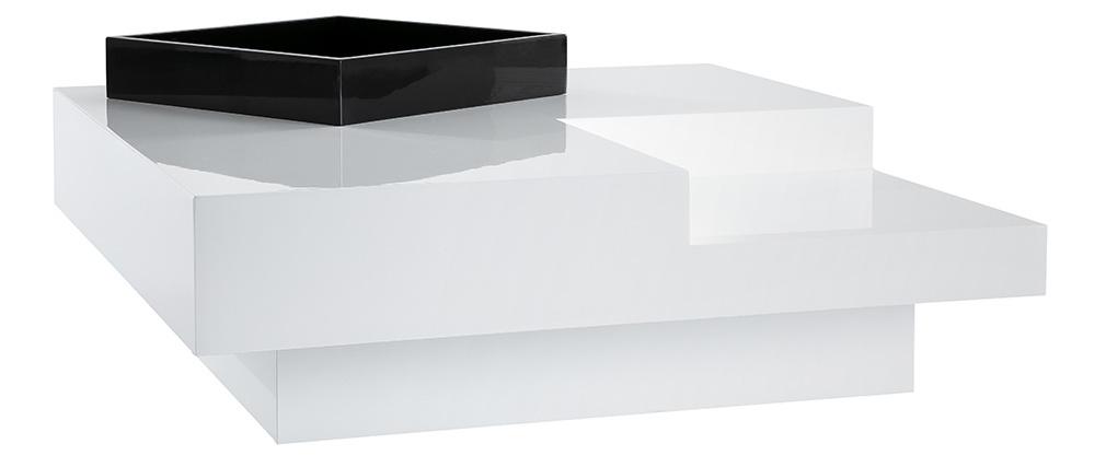 Mesa de salón de diseño lacada blanca bandeja negra amovible TEENA