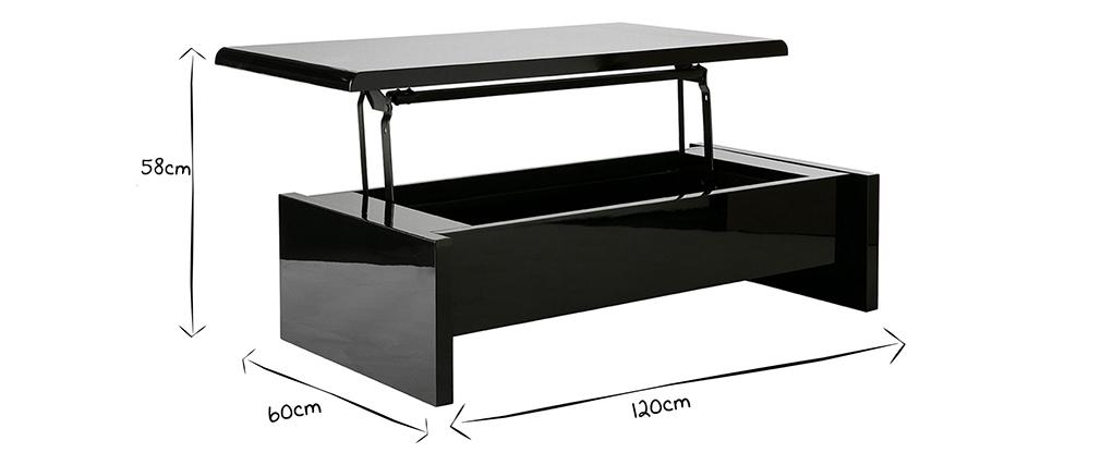 Mesa de salón de diseño lacada negra LOLA