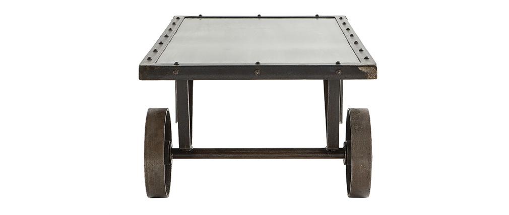 Mesa de salón estilo industrial de metal CHARIOT