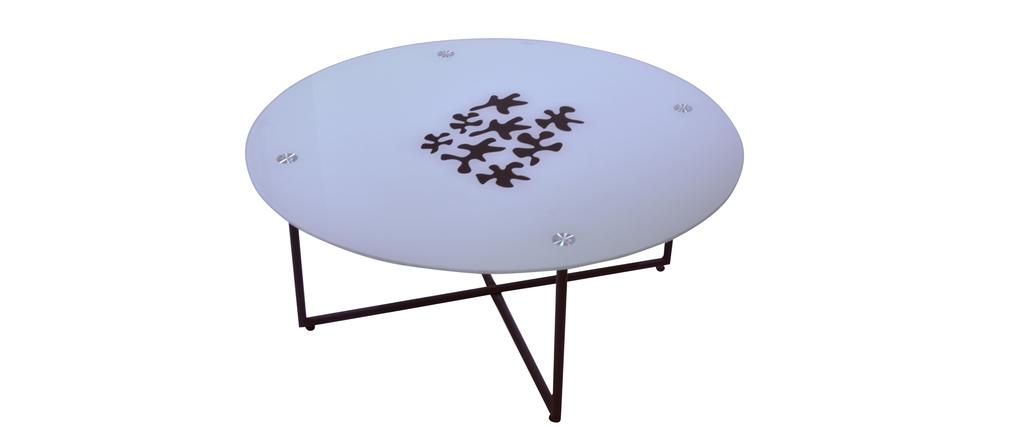 Mesa de sal n redonda flower color blanco miliboo - Mesa salon redonda ...