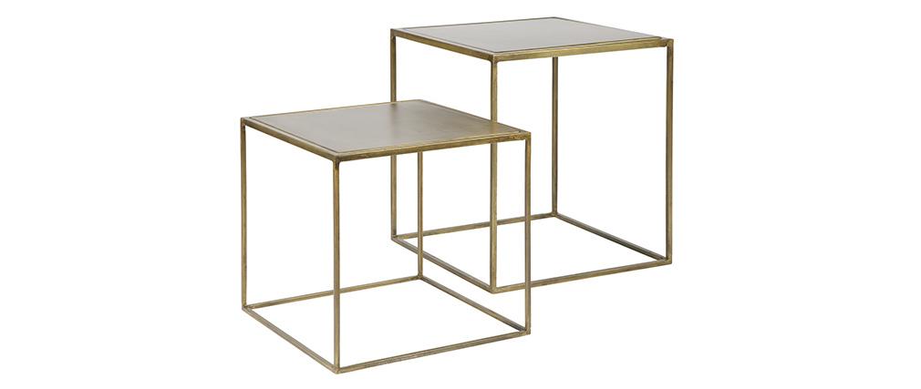 Mesa diseño metal latón lote de 2 ERINE