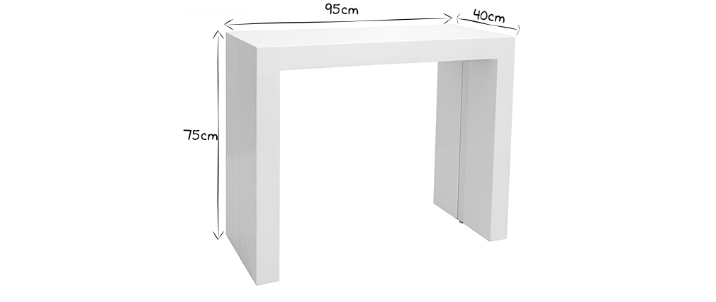 Mesa extensible blanco brillante CALEB