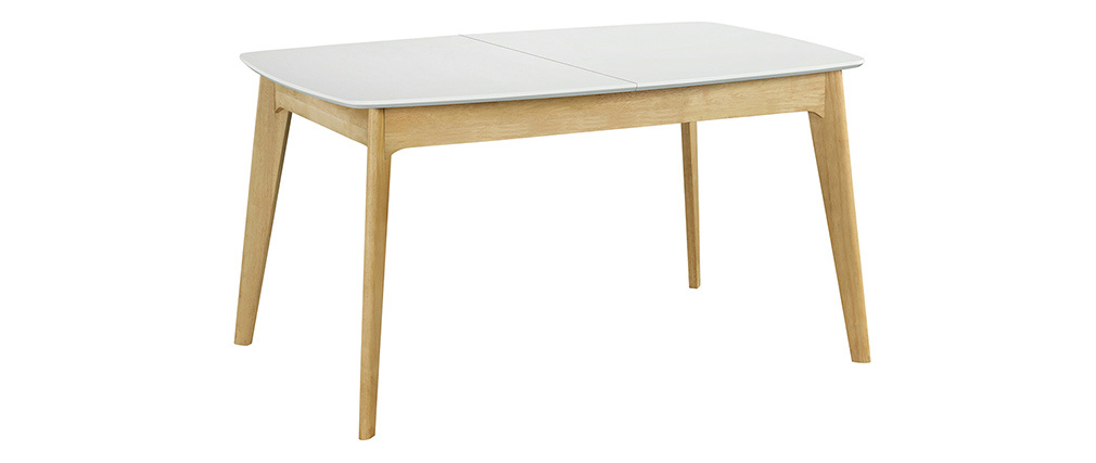 Mesa extensible nórdica blanca y madera MEENA