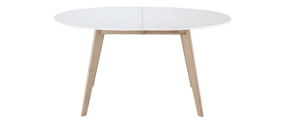Mesa extensible oval blanca y madera clara L150-200 LEENA