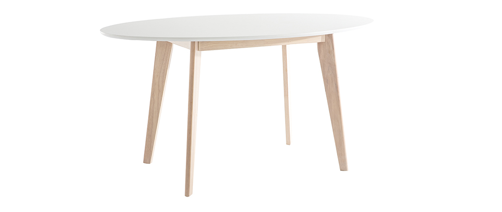 Mesa oval 150cm blanca y madera clara LEENA