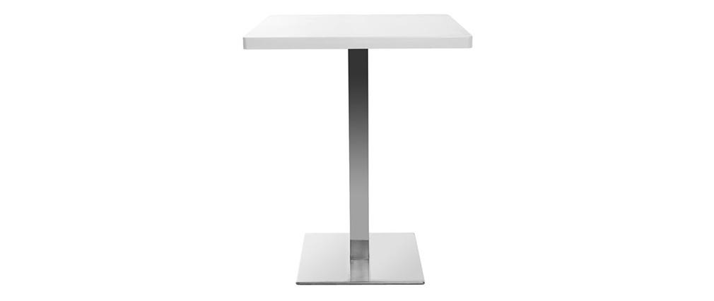 Mesa pequeña diseño cuadrado blanca pata central JORY