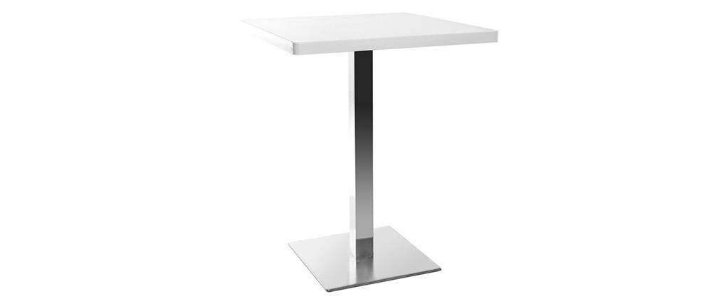 Mesa pequeña diseño cuadrado blanca pata central L60 JORY